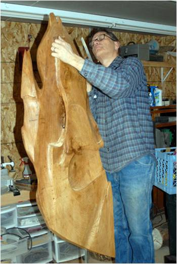 Lane Kendig working in his studio